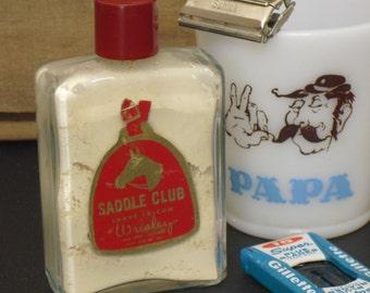 Vintage Saddle Club Men's Talc Talcum Shave Powder, Barbershop Display, Hair Cutters Display, Vintage Gift for Him, Men's Travel Soap, Old
