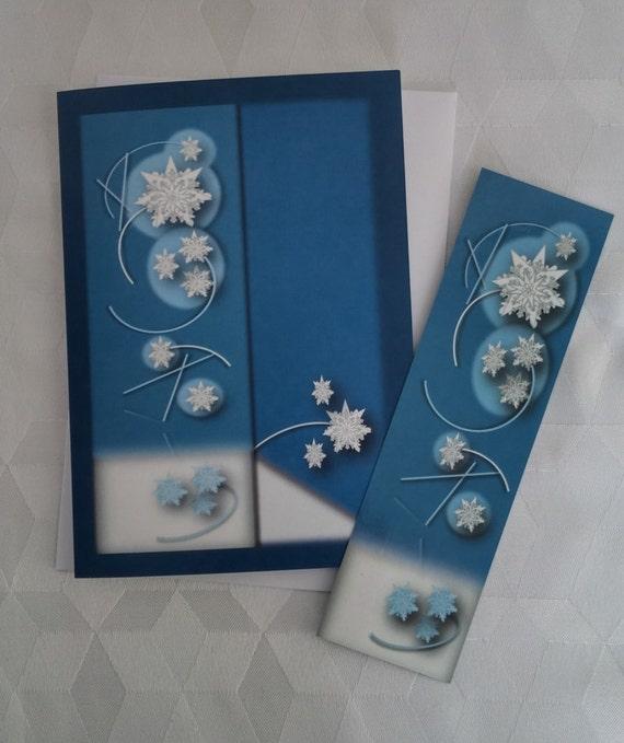 Carte de Noël/Flocons de neige blancs/Formes géométriques et énergétiques/Carte et Signet/Voeux des Fêtes/Flocons d'hiver - CNO-GMTX - 0003
