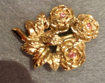 Vintage Brooch with three roses and pink stone centres