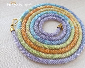 Crochet necklace pastel necklace Long necklace purple blue necklace yellow necklace gift for women modern necklace gift for birthday fashion