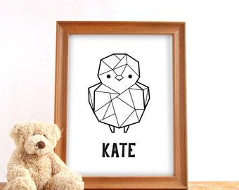 Printable name poster geometric bird, Digital download, Custom name print, Nursery print, Baby birthday gift, Printable custom wall decor