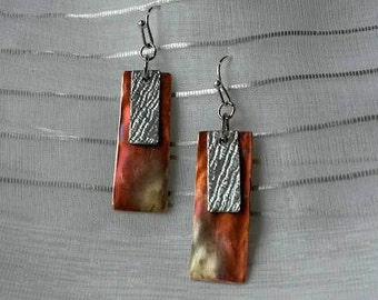 Orange and silver upcycled double rectangle hammered copper earrings