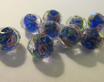 Multi-Faceted Royal Blue Lampwork Beads with Pink Roses, 12mm, Set of 5