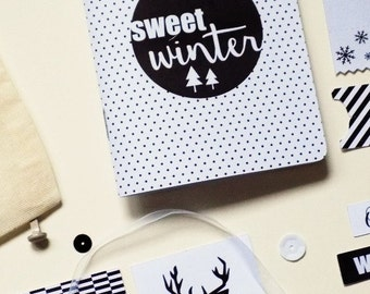 """The Mini-album """"Sweet Winter"""" kit. Illustrated and created by pretty Mess"""