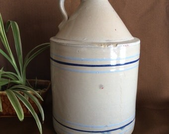 Antique moonshiner crock Toronto Pottery Co Mfg wine or molass jug with 2 tone blue band