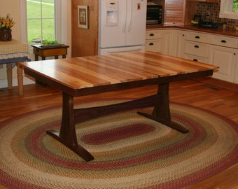 Farmhouse Table, Trestle Table, Solid Wood, Walnut And Hickory