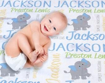 Elephant Baby Blanket - Elephant Baby Bedding - Elephant Baby Shower Boy - Elephant Baby Gift - Newborn Baby Name Blanket - Baby Photo Prop