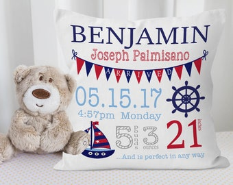 Nautical Baby Pillow, Nautical Nursery Decor, Nautical Baby Gift, Newborn Baby Boy Gift, Baby Shower Gift, Nautical Kids Room Decor