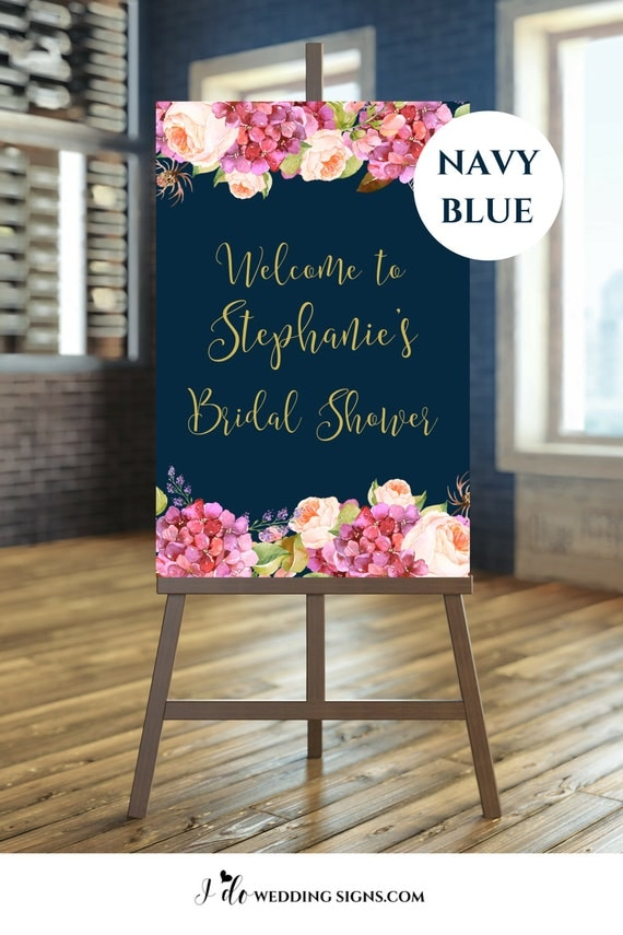 Navy And Blush Bridal Shower Decorations
