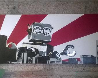 Domo Arigato Mr. Roboto - spray paint graffiti canvas hand painted original