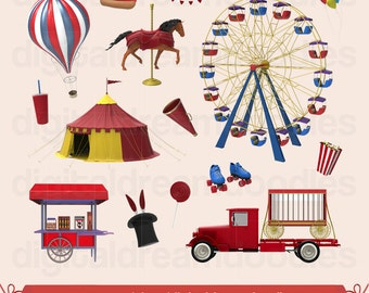 Carnival Clipart, Circus Clip Art, Ferris Wheel Image, Carnivale PNG, Festival Graphic, Big Top Picture, Troupe Scrapbook, Digital Download