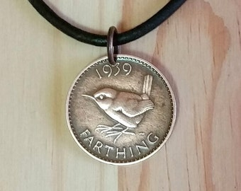 UK Farthing Bird Coin Necklace Charm Pendant - British George VI Farthing Wren Coin Pendant Necklace