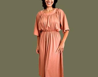 Bohemian Kimono Dress midi pink dress Coral pink  boho dress with scoop neckline  jersey dress size M Medium US 10 UK 12