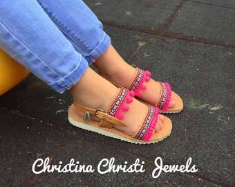 Sandals Girls, Leather Sandals Girls, Pom Pom Sandals Girls,  Made in Greece by Christina Christi Jewels.