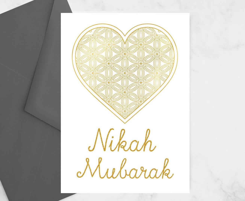 Nikah Mubarak Greeting Card Muslim Wedding Card Islamic
