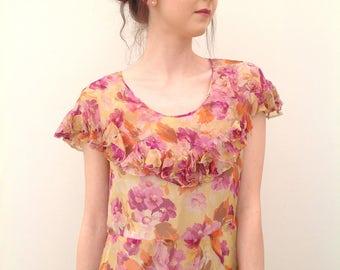 Beautiful 1930s dress floral chiffon flapper