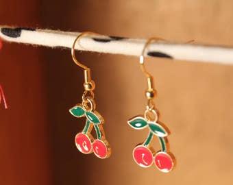 Cherry Earrings, Fruit Earrings, Tropical Earrings, Gold Earrings, Enamel Earrings, Red, Green, Cherries, Enamel Charms