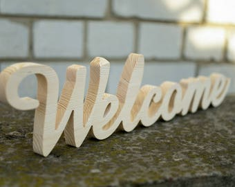 Free Standing Welcom Sign Wedding Sign Party Decor Free Standing Letters Wooden