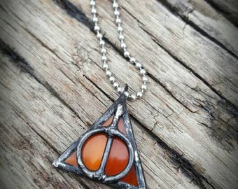 Deathly Hallows Harry Potter inspired orange stained glass pendant necklace handmade soldered jewelry