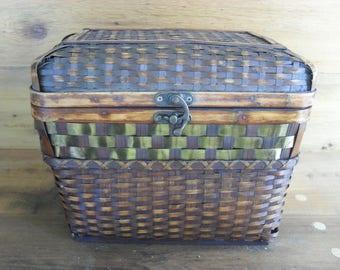 Vintage Wicker Woven Rattan Wood Decorative Chest Rustic Boho Bombay Decor