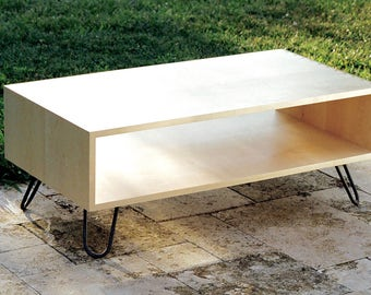 Maple Coffee Table, Mid Century Coffee Table, Industrial coffee table, Large Open Coffee Table