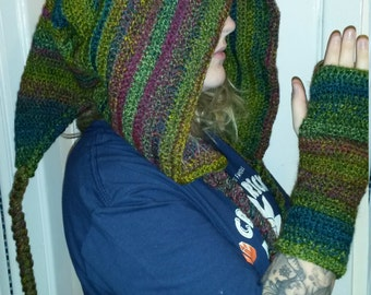 pixie hood and fingerless gloves in tones of green and purple.