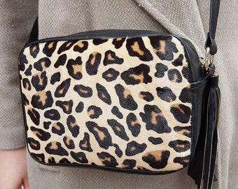 Leopard and Black Shoulder Bag