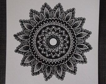 8x10 Sunflower Mandala