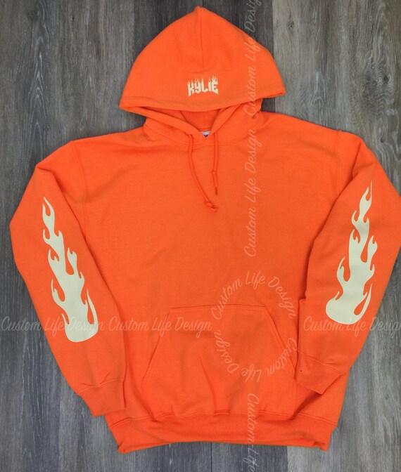 kylie jenner fire hoodie orange the kylie pop by. Black Bedroom Furniture Sets. Home Design Ideas