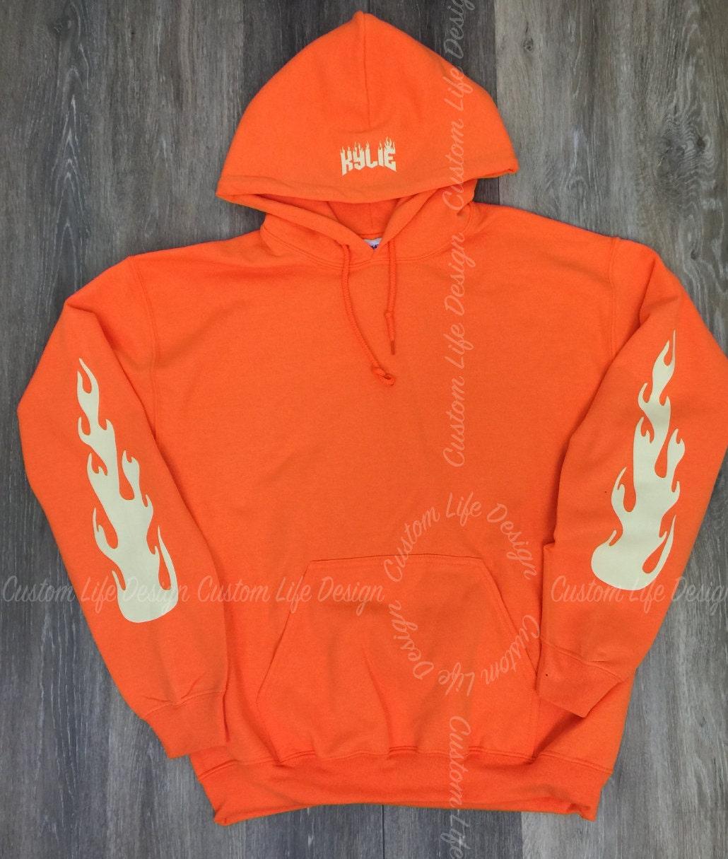 kylie jenner fire hoodie orange the kylie pop up shop. Black Bedroom Furniture Sets. Home Design Ideas