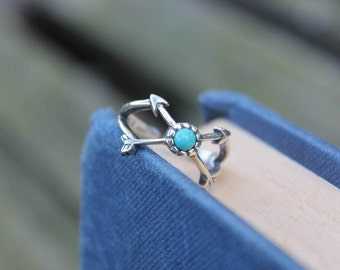 Sterling silver ring Turquoise ring Arrow ring Boho ring Gypsy ring 925 silver ring Boho jewelry Sterling silver jewellery Gift for her