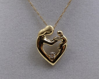 14K Vintage Mother and Child diamond pendant necklace, 14k yellow gold heart pendant, Mother's Day Gift,  gifts for her, Fine estate jewelry
