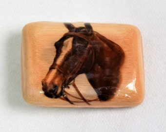 Vintage Horse Belt Buckle/Wooden Belt Buckle/