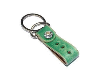 Green Leather Keychain / Leather Key Fob, Mens Keychain, Leather Key Holder / Key Ring, Leather Key Wristlet, Key Ring Holder