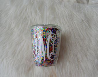 Customizable Confetti Multi Color Wine Tumbler // Glitter Kids Tumbler // Glitter Wine Glass Tumbler // wine glass  // Glitter Cup