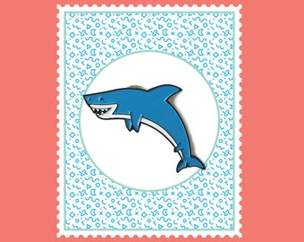 Happy Shark Enamel Pin