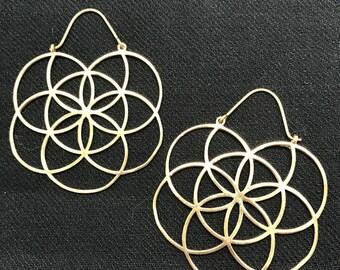 Flower of Life Sacred Geometry Large Hoop Earrings in Brass