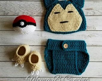 Crochet Snorlax Baby Set, Snorlax Hat, Snorlax Baby Set, Pokemon Baby Set, Snorlax Costume