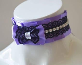 Gothic choker - Forbidden pearls - goth victorian alternative dark black and purple collar - lolita harajuku grunge - ddlg kittenplay cgl