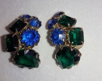 Rhinestone Royal Blue and Emerald Green Vintage Clip Earrings