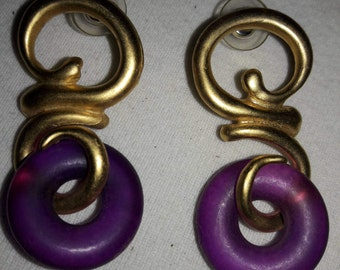 Purple Lucite in Gold Plated Vintage Pierced Earrings