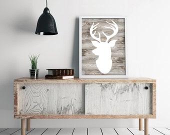 Deer Head Print, Rustic Home Decor, Antler Decor, Woodland Nursery Wall Art, Deer Silhouette, Rustic Wall Decor, Man Cave Sign DIGITAL PRINT