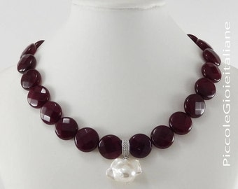 Gemstone Ruby necklace necklace Baroque Pearl Necklace handcrafted necklace silver necklace Choker Necklace