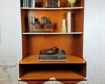 Teak vintage shelf / storage unit revamped with geometric chevron design