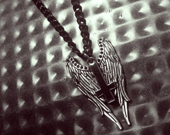 Fallen Angel Necklace - Black Inverted Cross with Silver Angel Wings & Black Chain - Mid-Length Pendant Necklace - 19 Inches Adjustable