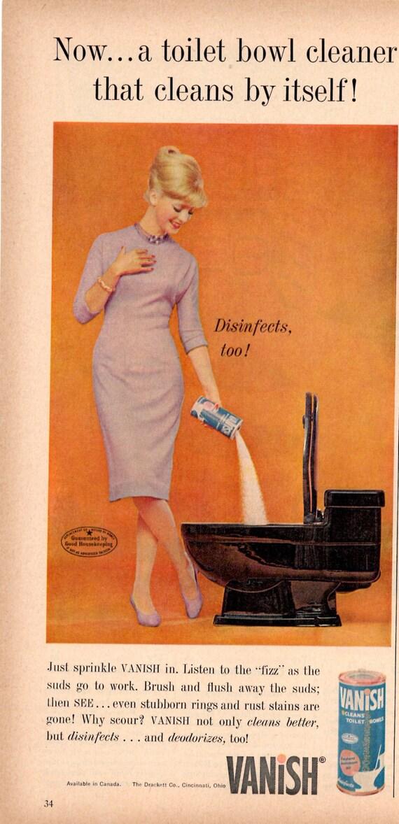 Vanish Toilet Bowl Cleaner Original Magazine 1960s Advertising