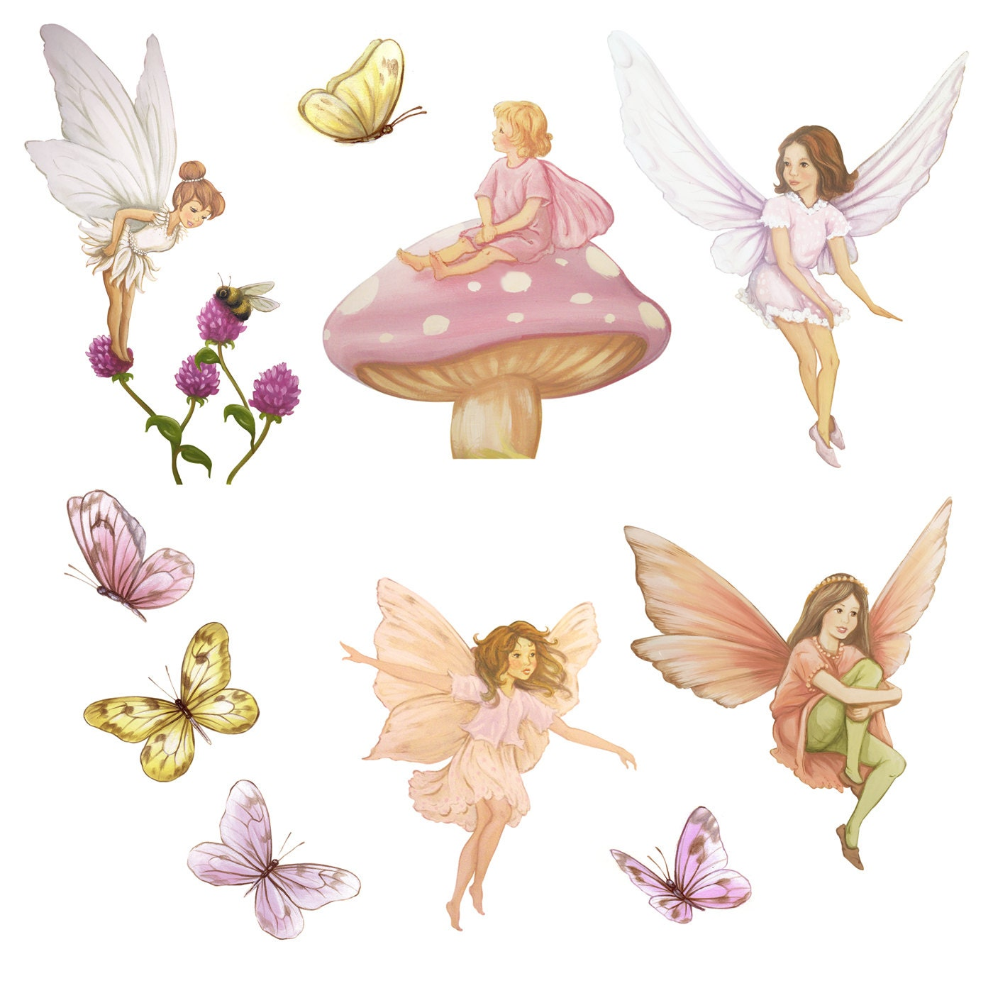 Fairy Wall Stickers Uk Set Of Fairy Decals Fairy Decal Fairies Fairy Wall