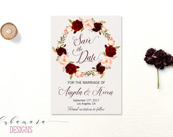 Printable Marsala Wedding Save the Date Invitation Bohemian Burgundy Floral Wreath Save the Date Fall Wedding Invite Autumn Invite - WS017