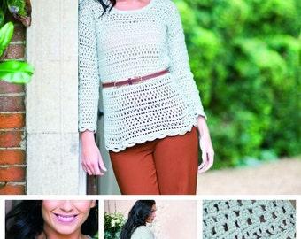 DMC Lace Effect Top Crochet Pattern Leaflet , crochet pattern, ladies crochet top, ladies lace top, lacy sweater