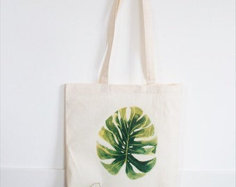 Tote bag, botanical, botanic, monstera, green, nature, eco friendly, market bag, grocery bag, canvas bag, reuseable bag, leaf